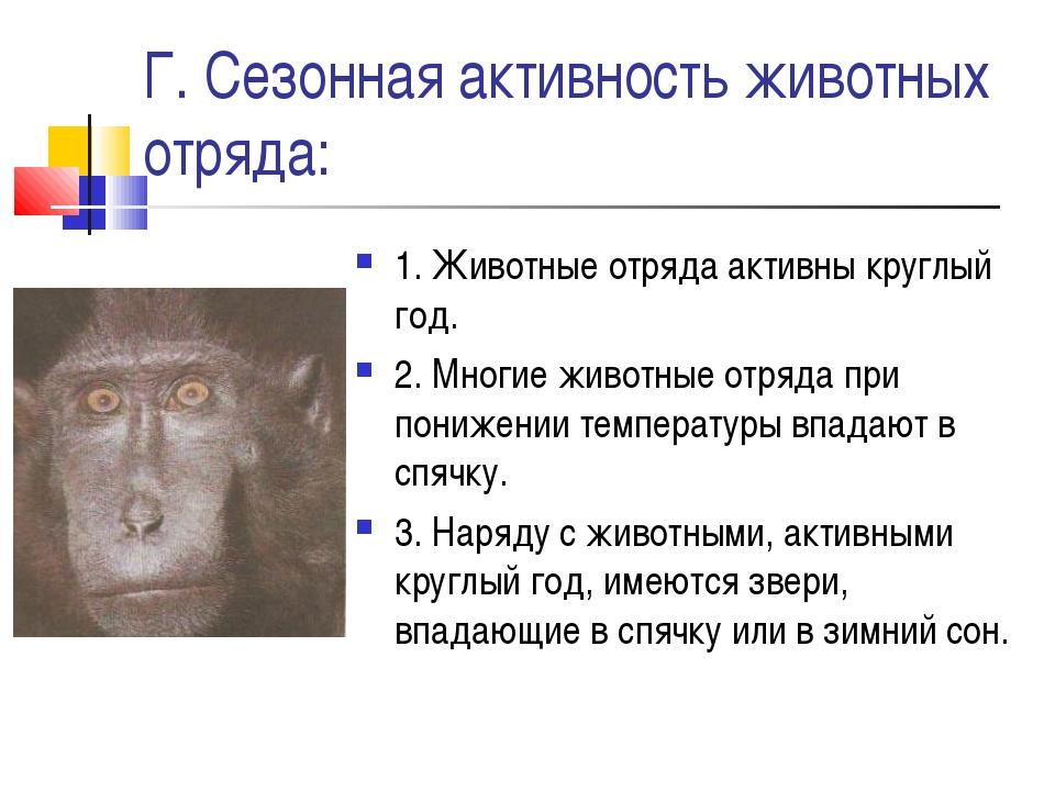 Г. Сезонная активность животных отряда: 1. Животные отряда активны круглый го...
