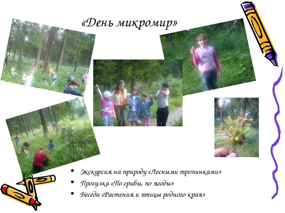 «День микромир» Экскурсия на природу «Лесными тропинками» Прогулка «По грибы,...