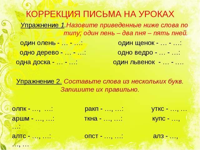 КОРРЕКЦИЯ ПИСЬМА НА УРОКАХ Упражнение 1.Назовите приведенные ниже слова по т...