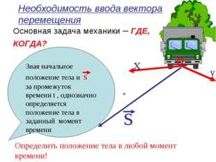 Необходимость ввода вектора перемещения Основная задача механики – ГДЕ, КОГДА