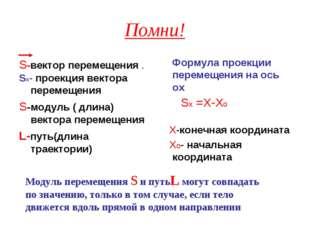 Помни! S-вектор перемещения . Sх- проекция вектора перемещения S-модуль ( дли