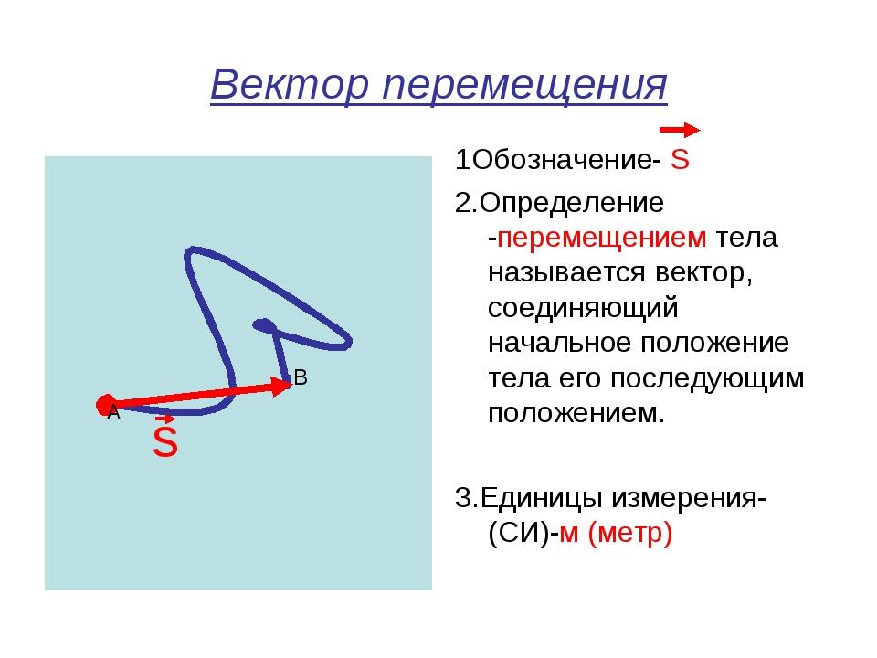 Вектор перемещения 1Обозначение- S 2.Определение -перемещением тела называетс...