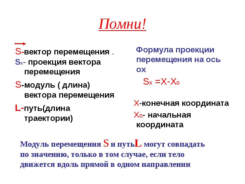 Помни! S-вектор перемещения . Sх- проекция вектора перемещения S-модуль ( дли...