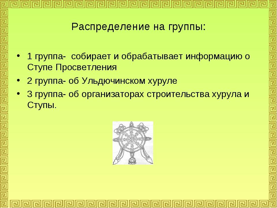 Распределение на группы: 1 группа- собирает и обрабатывает информацию о Ступе...