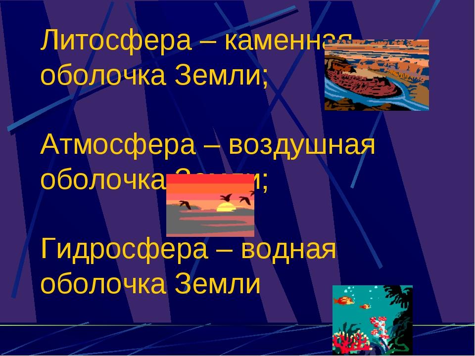 Литосфера – каменная оболочка Земли; Атмосфера – воздушная оболочка Земли; Ги...
