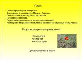 План: Сбор информации в интернете. Экспедиция в заповедник «Маныч – Гудило».