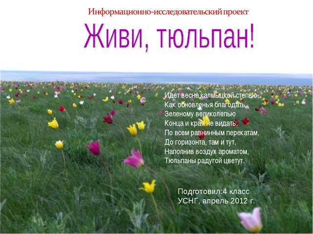 Подготовил:4 класс УСНГ, апрель 2012 г. Идет весна калмыцкой степью, Как обно...