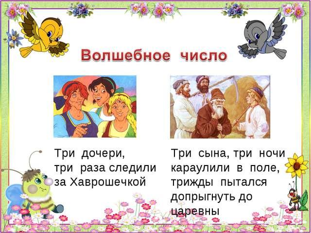 Три дочери, три раза следили за Хаврошечкой Три сына, три ночи караулили в по...