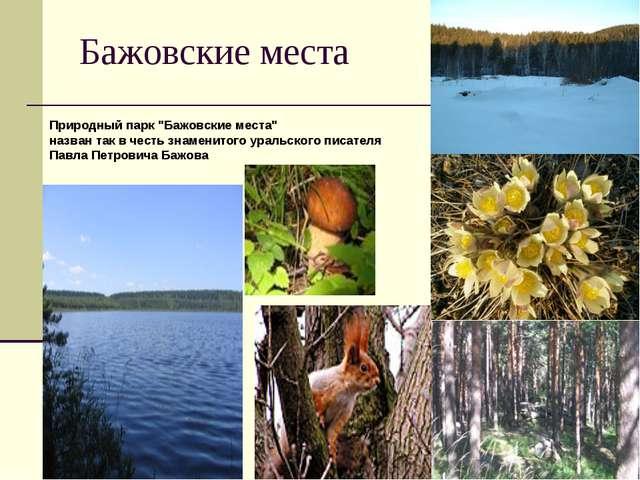 """Бажовские места Природный парк """"Бажовские места"""" назван так в честь знаменито..."""