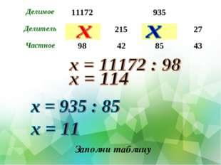 Заполни таблицу Делимое11172935 Делитель21527 Частное98428543