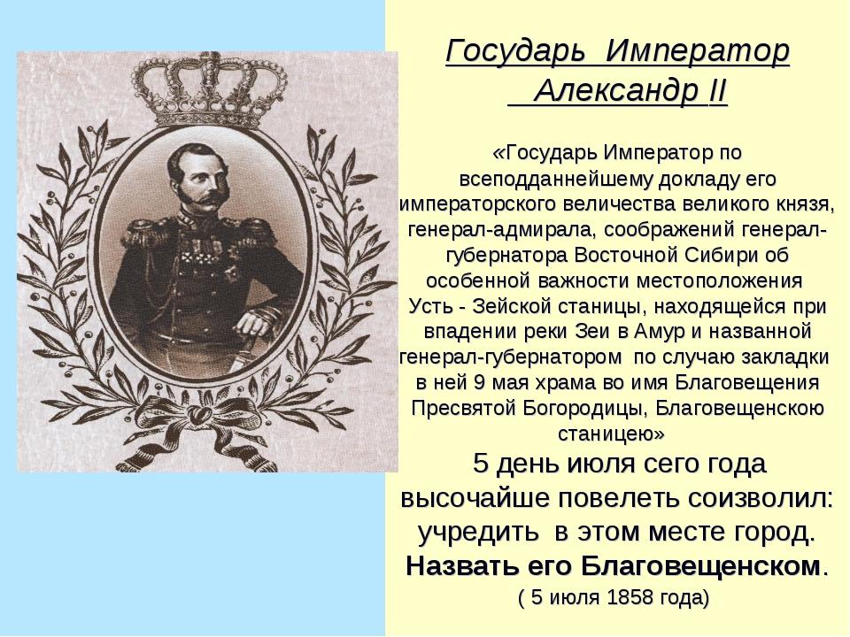 Государь Император Александр II «Государь Император по всеподданнейшему докла...