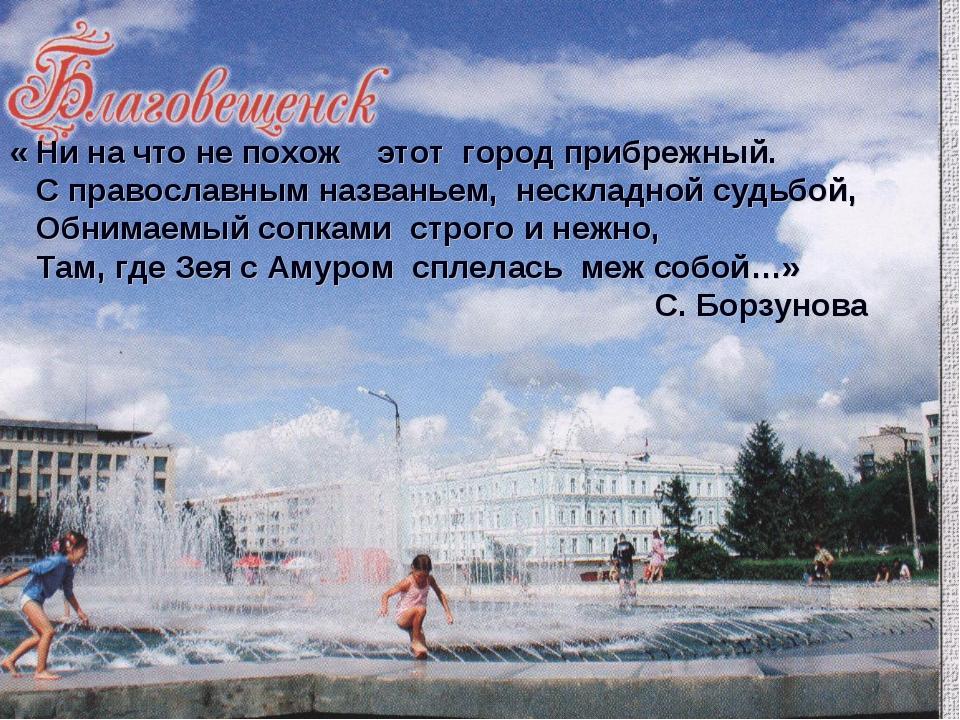 « Ни на что не похож этот город прибрежный. С православным названьем, несклад...