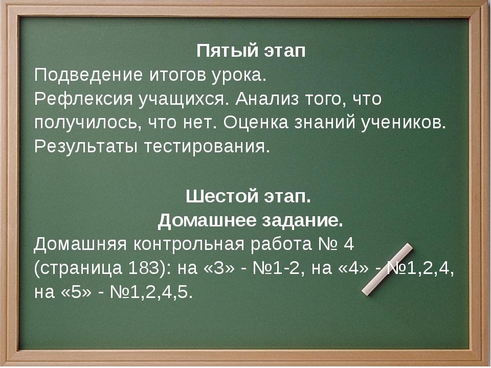 Пятый этап Подведение итогов урока. Рефлексия учащихся. Анализ того, что полу...