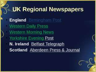 UK Regional Newspapers England  Birmingham Post Western Daily Press Western M