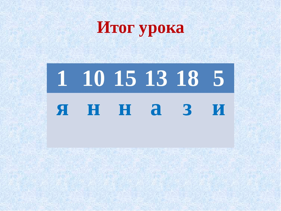 Итог урока  1 10 15 13 18 5 я н н а з и