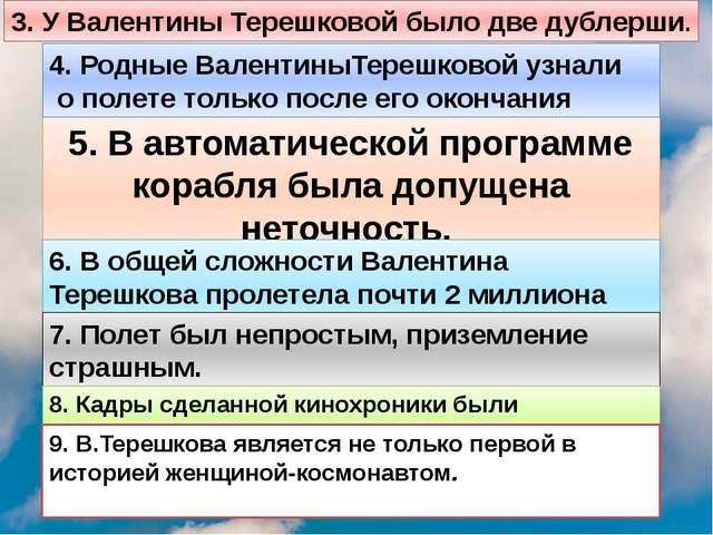 3. У Валентины Терешковой было две дублерши. 5. В автоматической программе ко...