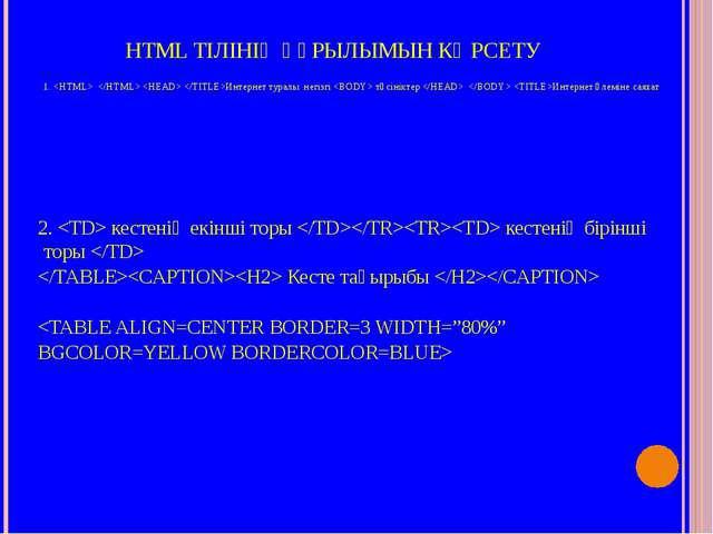 HTML ТІЛІНІҢ ҚҰРЫЛЫМЫН КӨРСЕТУ 1.    Интернет туралы негізгі  түсініктер   Ин...