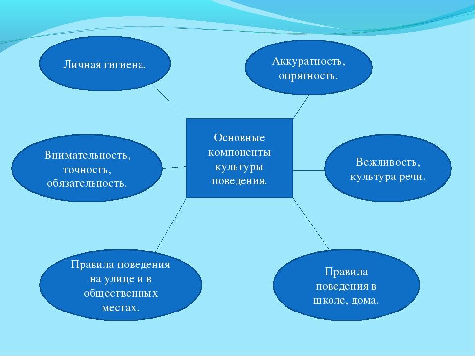 Основные компоненты культуры поведения. Личная гигиена. Аккуратность, опрятно...