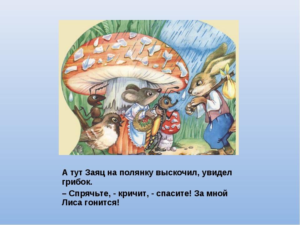 А тут Заяц на полянку выскочил, увидел грибок. – Спрячьте, - кричит, - спасит...