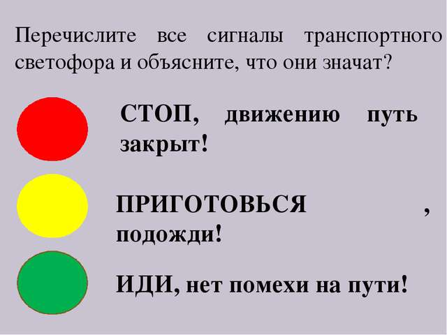 Перечислите все сигналы транспортного светофора и объясните, что они значат?...