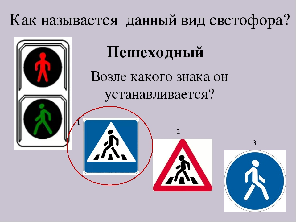 Как называется данный вид светофора? Пешеходный Возле какого знака он устанав...