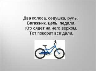 Два колеса, седушка, руль, Багажник, цепь, педали. Кто сядет на него верхом,