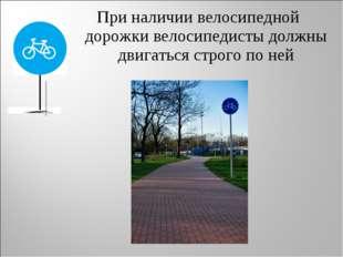При наличии велосипедной дорожки велосипедисты должны двигаться строго по ней