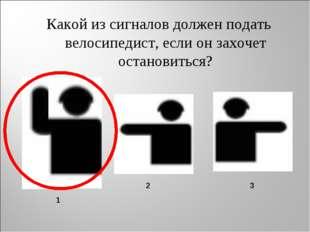 Какой из сигналов должен подать велосипедист, если он захочет остановиться? 1