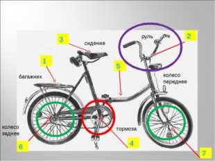 4 2 3 1 5 6 7 руль тормоза колесо переднее колесо заднее багажник сидение