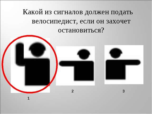 Какой из сигналов должен подать велосипедист, если он захочет остановиться? 1...