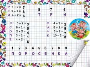 Р 5 + 2 = Т 9 – 1 = И 4 + 2 = Р 5 – 2 = О 4 – 2 = С 6 – 1 = А 8 + 1 = О 2 +