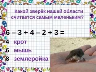 Какой зверёк нашей области считается самым маленьким? 6 – 3 + 4 – 2 + 3 = 4