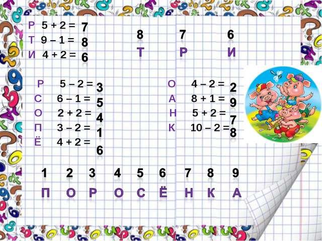 Р 5 + 2 = Т 9 – 1 = И 4 + 2 = Р 5 – 2 = О 4 – 2 = С 6 – 1 = А 8 + 1 = О 2 +...