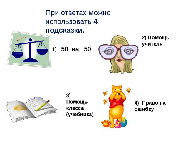 2) Помощь учителя 3) Помощь класса (учебника) 4) Право на ошибку 1) 50 на 50...