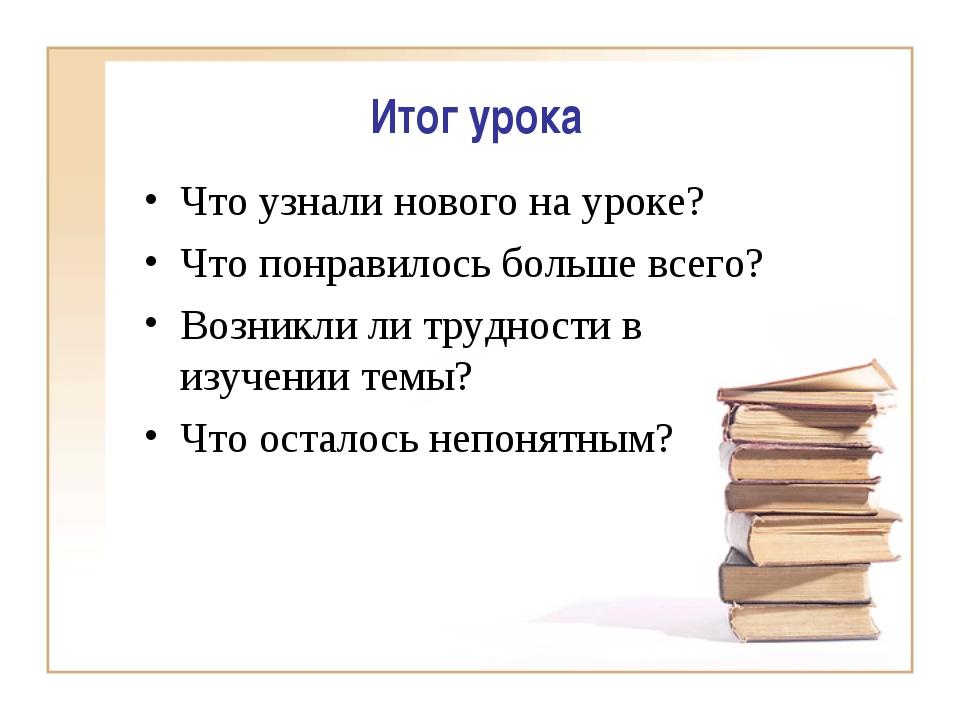 Итог урока Что узнали нового на уроке? Что понравилось больше всего? Возникли...