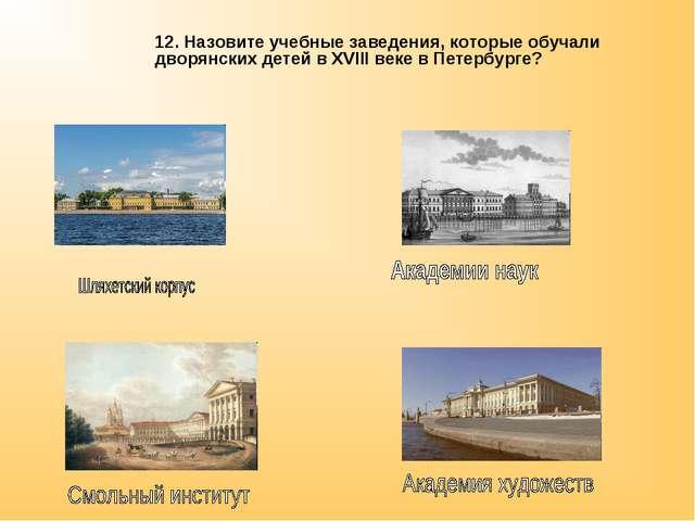 12. Назовите учебные заведения, которые обучали дворянских детей в XVIII веке...