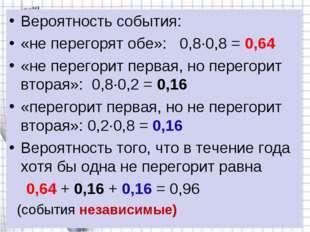 Вероятность события: «не перегорят обе»: 0,8∙0,8 = 0,64 «не перегорит первая,
