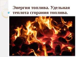 Энергия топлива. Удельная теплота сгорания топлива.