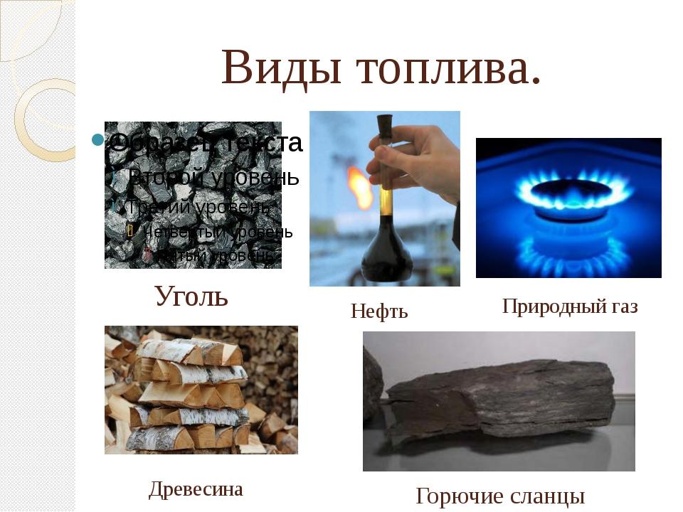 Виды топлива. Уголь Нефть Природный газ Древесина Горючие сланцы