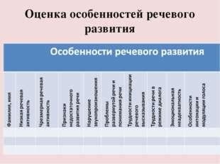 Оценка особенностей речевого развития