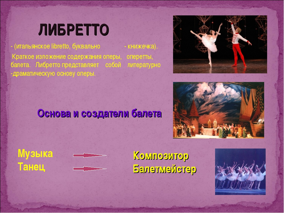 ЛИБРЕТТО - (итальянское libretto, буквально - книжечка). Краткое изложение...