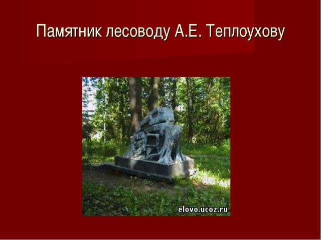 Памятник лесоводу А.Е. Теплоухову