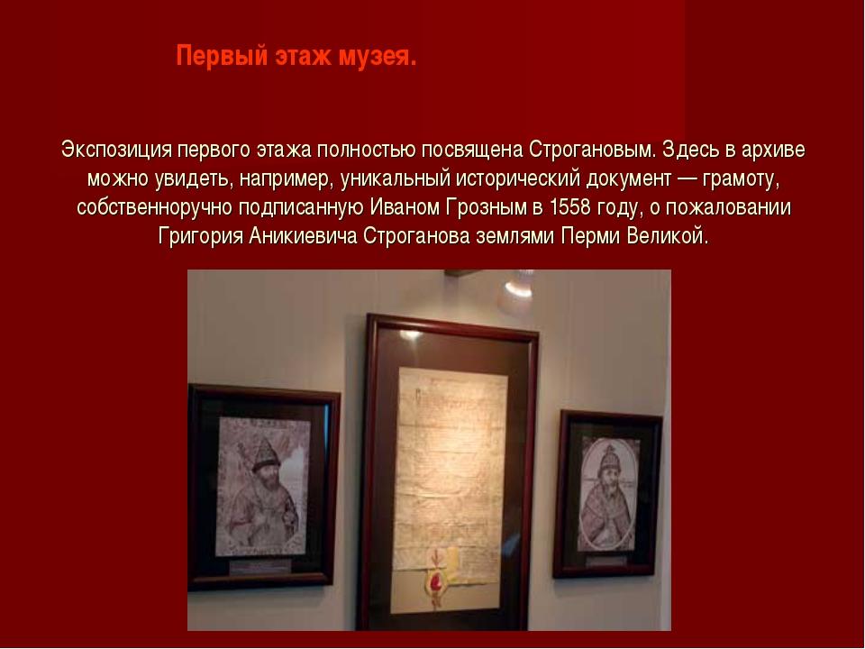 Экспозиция первого этажа полностью посвящена Строгановым. Здесь в архиве можн...