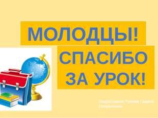 МОЛОДЦЫ! СПАСИБО ЗА УРОК! Подготовила Рочева Гадина Гавриловна