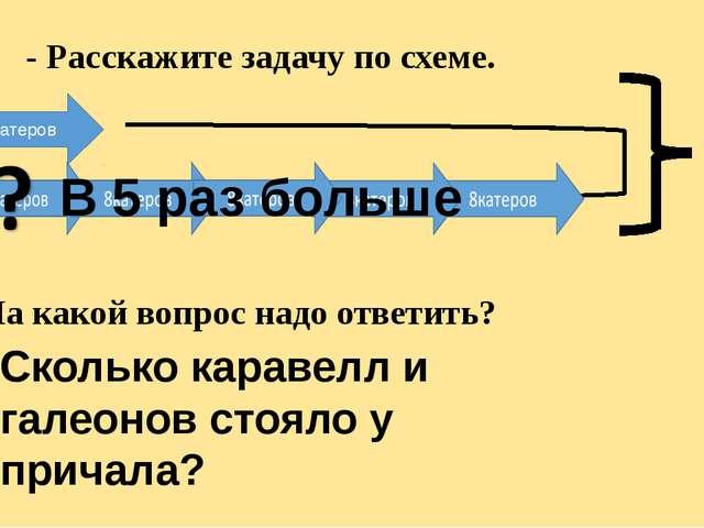 Г К 8катеров В 5 раз больше ? - На какой вопрос надо ответить? - Расскажите...