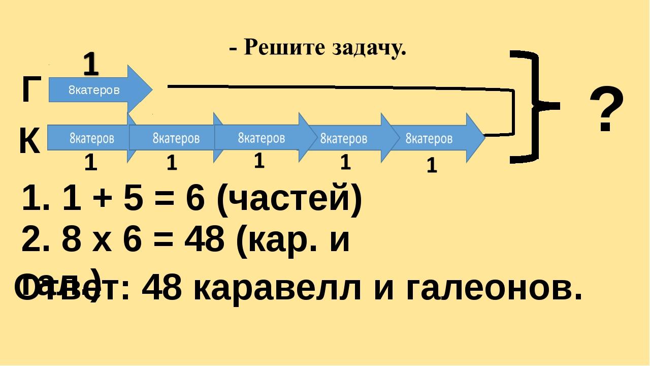 Г К 8катеров ? 1. 1 + 5 = 6 (частей) 2. 8 х 6 = 48 (кар. и гал.) Ответ: 48 к...