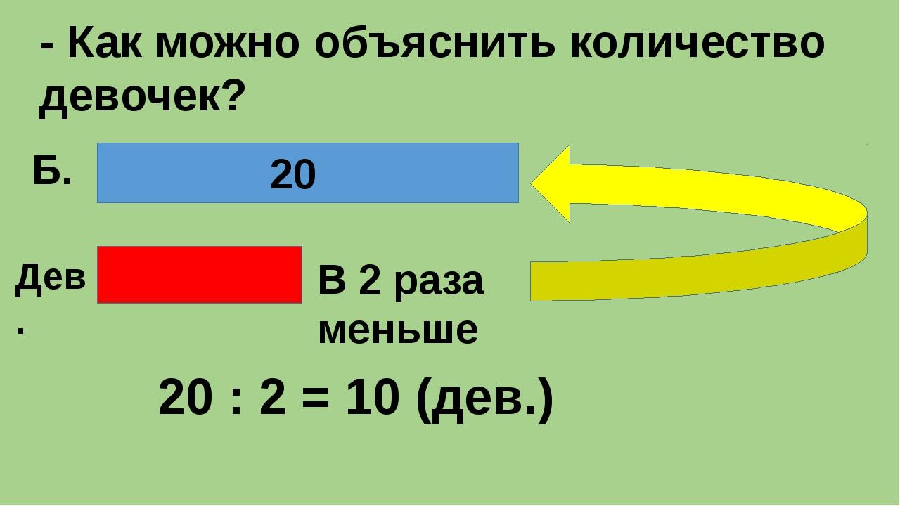 - Как можно объяснить количество девочек? В 2 раза меньше 20 Б. Дев. 20 : 2...