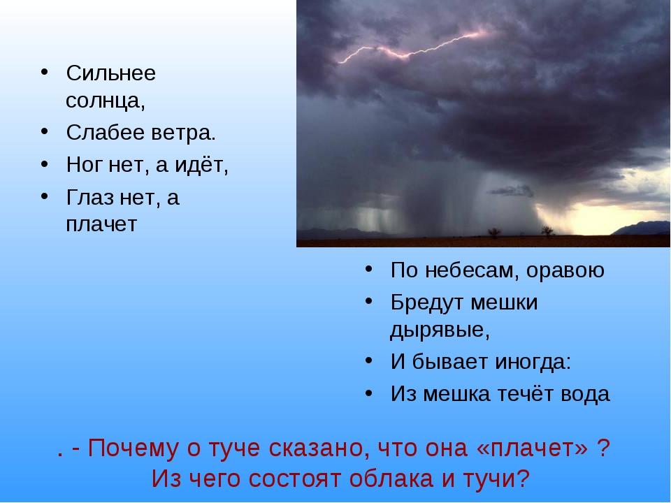 . - Почему о туче сказано, что она «плачет» ? Из чего состоят облака и тучи?...