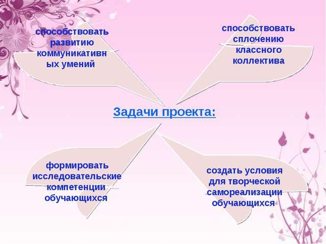 Задачи проекта: способствовать развитию коммуникативных умений создать услови...
