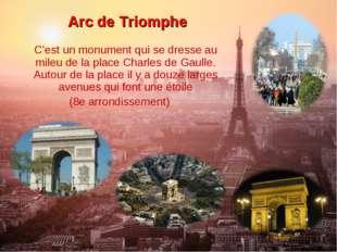 Arc de Triomphe C'est un monument qui se dresse au mileu de la place Charles